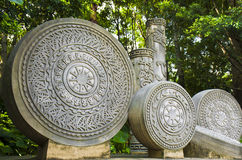 Historical relics details in China. The circular carving stones with Unique textures in south of China Stock Photography