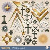 Historical and religious symbols. Big  set: historical and religious symbols Royalty Free Stock Photo