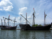 Historical Reproduction Columbus Sailing Ships 2 Stock Photos