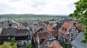 Historical residential buildings, Marburg. Aerial view of historical residential buildings in Marburg town, Germany Royalty Free Stock Photography
