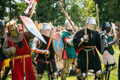 Historical restoration of knightly fights battle Royalty Free Stock Image