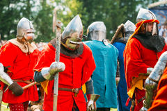 Historical restoration of knightly fights on festival of medieva Royalty Free Stock Photography