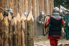 Historical restoration of knightly fights on festival of medieval Royalty Free Stock Photography