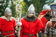 Historical restoration of knightly fights on Royalty Free Stock Photo