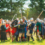 Historical restoration of knightly fights on Royalty Free Stock Photography