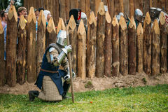 Historical restoration of knightly fights on Stock Photos