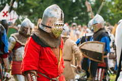 Historical restoration of knightly fights on Stock Photography