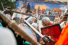 Historical restoration of knightly fights on Royalty Free Stock Image