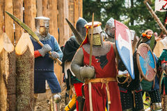 Historical restoration of knightly fights on Royalty Free Stock Images