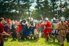 Historical restoration of knightly fights on Royalty Free Stock Photos