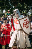 Historical restoration of knightly fights on Stock Images