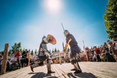 Historical restoration of knightly fights Royalty Free Stock Images