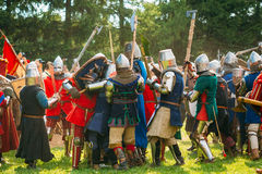 Historical restoration of knightly fights Royalty Free Stock Photography