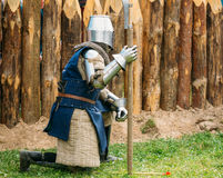 Historical restoration of knightly fights on Stock Image