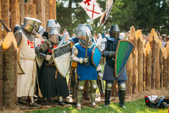 Historical restoration of knightly fights. Stock Images