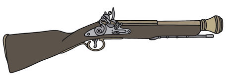 Historical rifle. Hand drawing of a historical rifle Stock Photography
