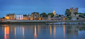 Historical Rochester at dusk. Rochester, United Kingdom - August 5, 2015: Panoramic view across river to historical Rochester at dusk Stock Photography
