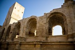 Historical Roman Arena in Arles Stock Images