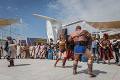 Historical Roman Group at Expo 2015 in Milan, Italy Stock Photo