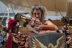 Historical Roman Group at Expo 2015 in Milan, Italy. MILAN, ITALY - MAY 25: Historical Roman Group takes part in Expo, universal exposition on the theme of food royalty free stock photography