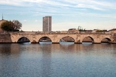 Historical roman Tiberius' bridge Royalty Free Stock Photos