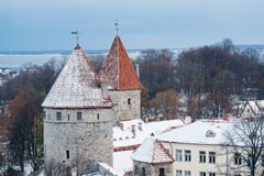 Historical roofs of wintry Tallinn old town Stock Image