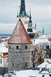Historical roofs of wintry Tallinn old town Royalty Free Stock Photos