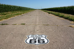 Historical route 66. Section of Route 66 between corn fields Illinois USA royalty free stock images