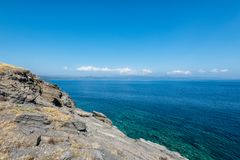 Historical ruins of the castle on the beach of Sithonia. Greece stock photography