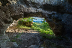 Historical ruins of housing in Cave city Bakla in Bakhchysarai Raion, Crimea. Royalty Free Stock Photo