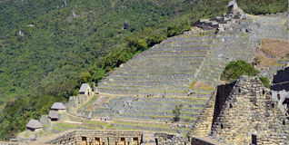 Historical ruins of the Inca Empire. CUSCO, PERU - JUNE 05, 2016: Historical  stone ruins of a Ollantaytambo -  the capital and center of Inca  Empire in Andes Royalty Free Stock Images