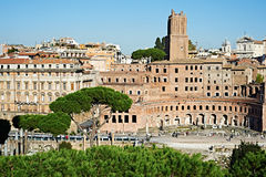 Historical ruins and monuments in streets of Rome Royalty Free Stock Photography