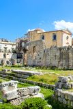 Historical ruins of Temple of Apollo in Ortigia Island, Syracuse, Sicily, Italy. Ancient Greek monument, significant. Archaeological site. Popular tourist place stock image