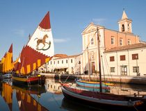 Historical sailboats. On channel of cesenatico stock photos