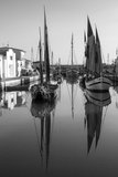 Historical sailboats. On channel of cesenatico royalty free stock images