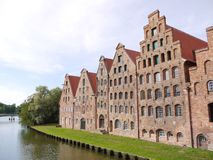 Historical salt store houses in Luebeck Royalty Free Stock Images