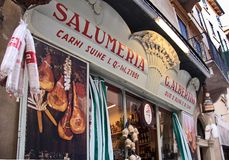 Historical Salumeria with Italian meat specialties Stock Photo
