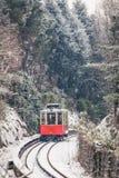 The historical Sassi – Superga rack tramway in winter time-. T. The historical Sassi – Superga  Turin-Italy rack tramway in winter time.The rack tramway Stock Photos