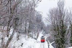 The historical Sassi – Superga rack tramway in winter time. Tu. The historical Sassi – Superga  Turin-Italy rack tramway in winter time.The rack tramway Stock Photos