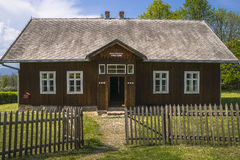 Historical school. Old wooden cottage in open-air museum in Nowy SÄ…cz . Historical school building fro Nowe Rybie stock photo