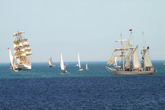 HISTORICAL SEAS TALL SHIPS REGATTA 2010. Sailing boat Dar Mlodziezy and Shabab Oman in Varna bay Royalty Free Stock Photography