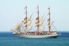 HISTORICAL SEAS TALL SHIPS REGATTA 2010. Sailing boat Dar Mlodziezy in Varna bay Royalty Free Stock Images