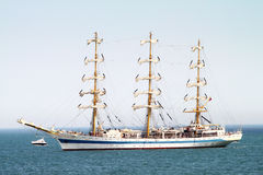 HISTORICAL SEAS TALL SHIPS REGATTA 2010. Sailing boat Mir in Varna bay Stock Photos