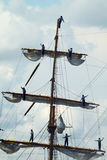 HISTORICAL SEAS TALL SHIPS REGATTA 2010. Mast wit sailors of sailing boat in Varna bay Royalty Free Stock Images