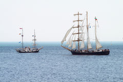 HISTORICAL SEAS TALL SHIPS REGATTA 2010. Sailing boat Marea and Kaliakra in Varna bay Stock Image