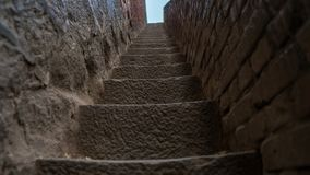 Ancient fort with steps made of rock stock images