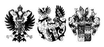 Historical shields. Three historical shields on white - can be used how background (vector, illustration Stock Photography
