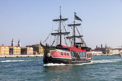 Historical Ship. Venice,Italy- February 26, 2011: A historical pirate's ship sailing in the waters of The Port of Venice,Italy Royalty Free Stock Photo