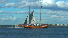 Historical ship in Baltic sea stock video footage