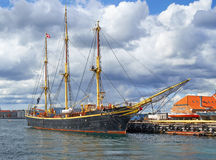 The historical ship in the harbour of Copenhagen. Royalty Free Stock Photo